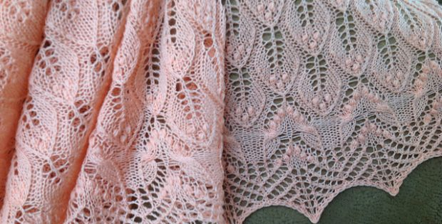 Wavy Leaves Knitted Lace Shawl Free Knitting Pattern