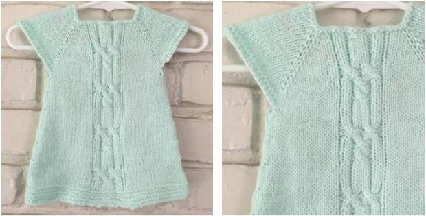 Wee Kizzy Knitted Baby Dress Free Knitting Pattern