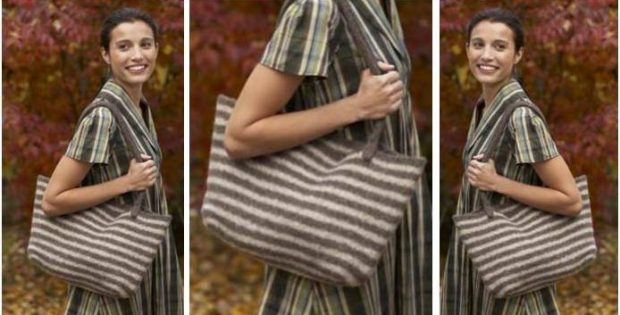 Windy City Knitted Tote Bag [FREE Knitting Pattern]