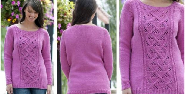 Winter Rose Knitted Sweater Free Knitting Pattern