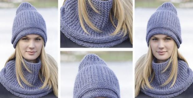 Winter Shore Knitted Hat And Cowl Free Knitting Pattern
