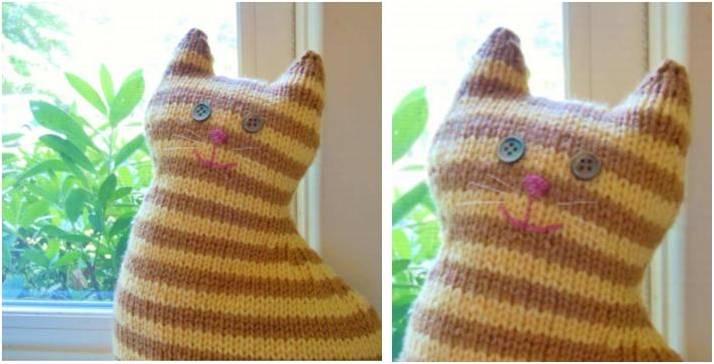 Wondrous Window Cat Knitted Toy [FREE Knitting Pattern]