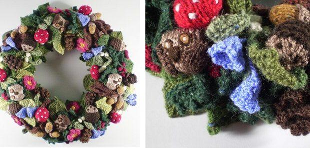 Knitted Woodland Fall Wreath Free Knitting Pattern