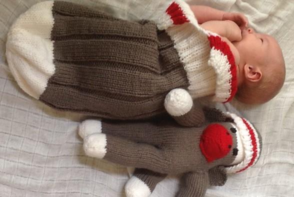 Work Sock Sweater Knitting Pattern : Work sock knitted baby snuggler free knitting pattern