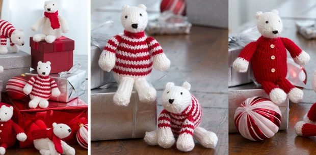 Polar Bear Knitted Ornaments Free Knitting Pattern Video Tutorial