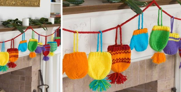 colorful knitted Christmas garland | the knitting space