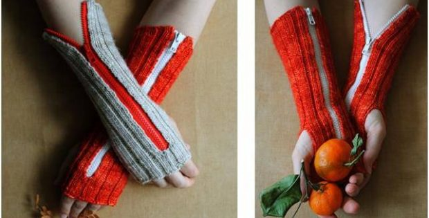 knitted zippered hand warmers | the knitting space
